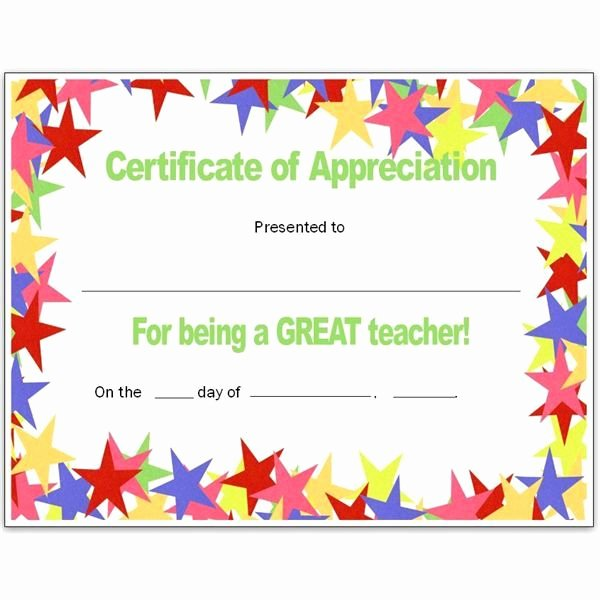 Certificate Of Appreciation for Teachers Luxury Teacher Appriecation Certificates Stars Teacher S Certificate for Publisher