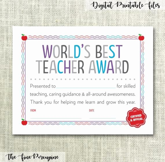 Certificate Of Appreciation for Teachers New Teacher Certificate Teacher Appreciation Gift for Teacher