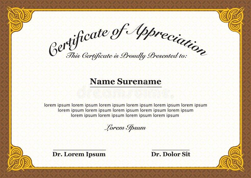 Certificate Of Appreciation Graduation Beautiful Certificate Appreciation Stock Vector Illustration Of Editable Border