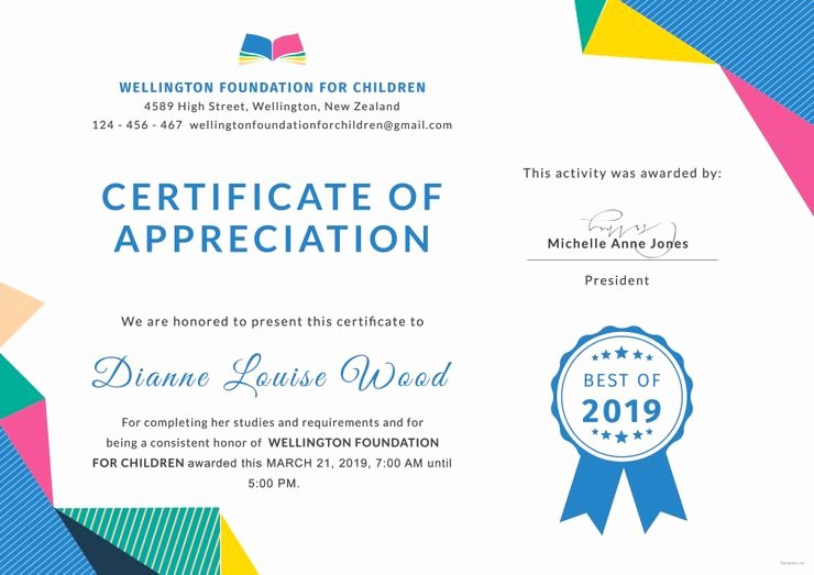 Certificate Of Appreciation Graduation Elegant Free Graduation Appreciation Certificate Kindergarten