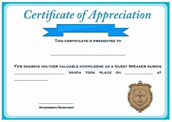 Certificate Of Appreciation Graduation Elegant Sample Certification Of Appreciation for Guest Speaker 2 Class Name
