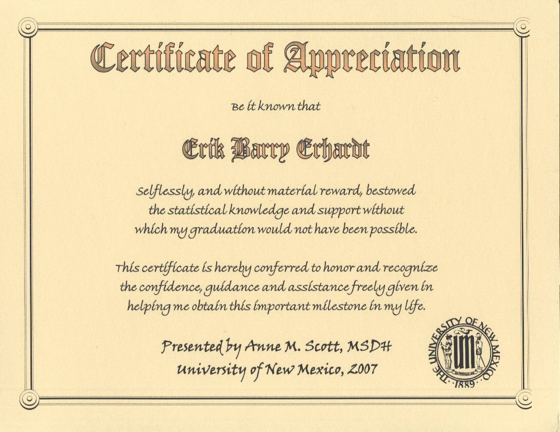 Certificate Of Appreciation Graduation Lovely Degree Ms Dental Hygiene University Of New Mexico 2007 Certificate