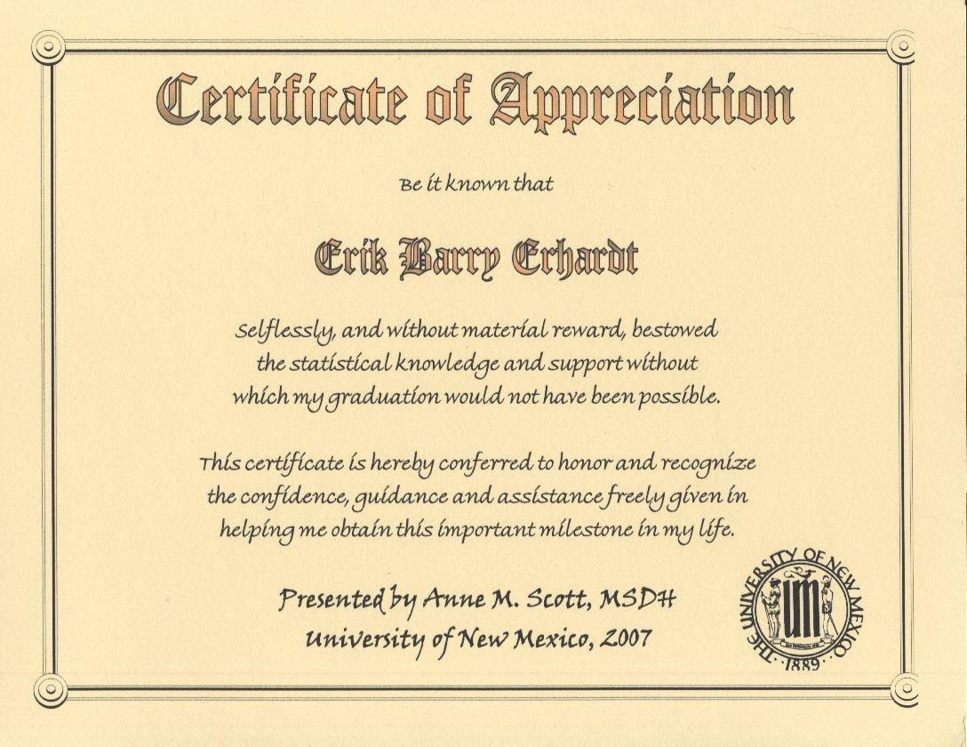 Certificate Of Appreciation Graduation Lovely Degree Ms Dental Hygiene University Of New Mexico 2007 Certificate