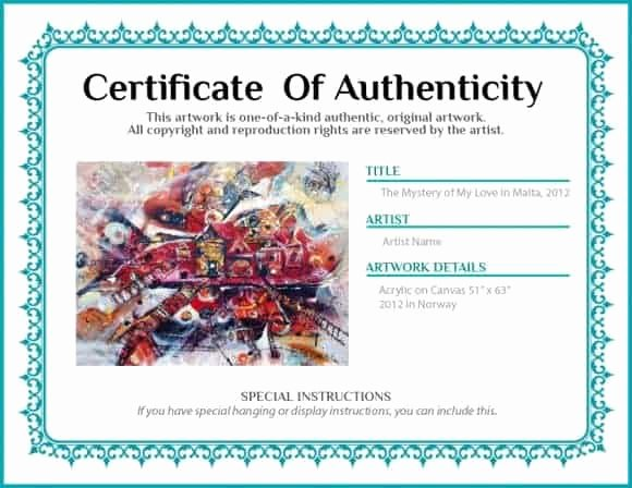 Certificate Of Authenticity Artwork Template Best Of 12 Certificate Authenticity Templates Word Excel Samples