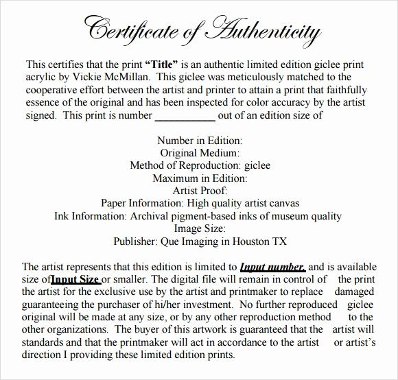 Certificate Of Authenticity Artwork Template Best Of 45 Sample Certificate Of Authenticity Templates In Pdf Psd