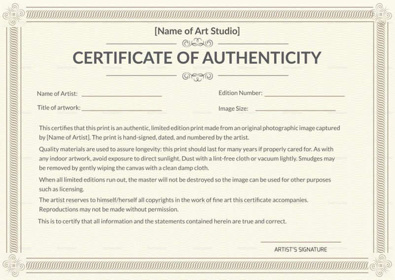 Certificate Of Authenticity Artwork Template Best Of why is Having A Certificate Of Authenticity Essential In Conceptual Art Collecting