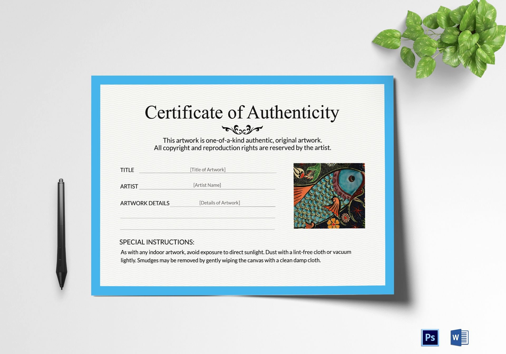 Certificate Of Authenticity Artwork Template Elegant Artwork Authenticity Certificate Design Template In Psd Word