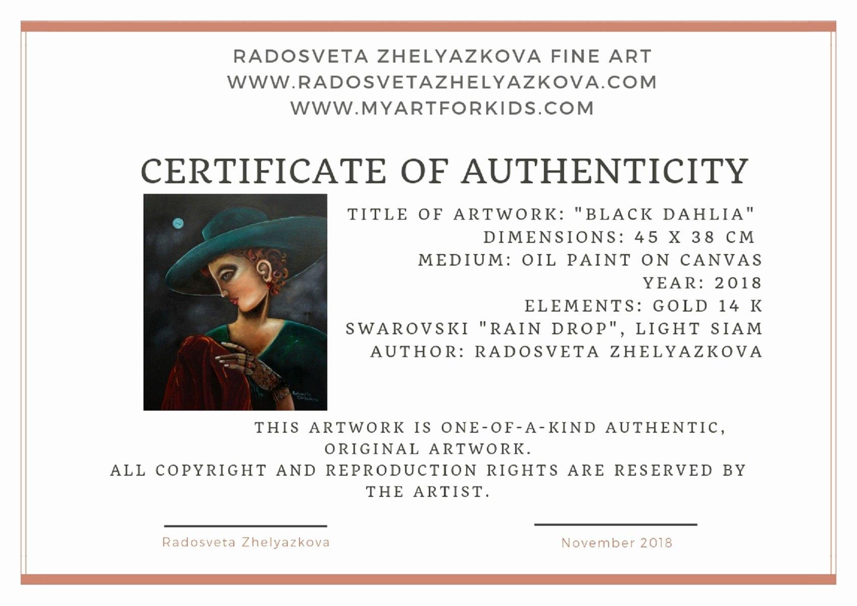 "Certificate Of Authenticity Artwork Template Elegant ""black Dahlia"" 14k Gold Ring Swarovski ""rain Drop"" Light Siam"