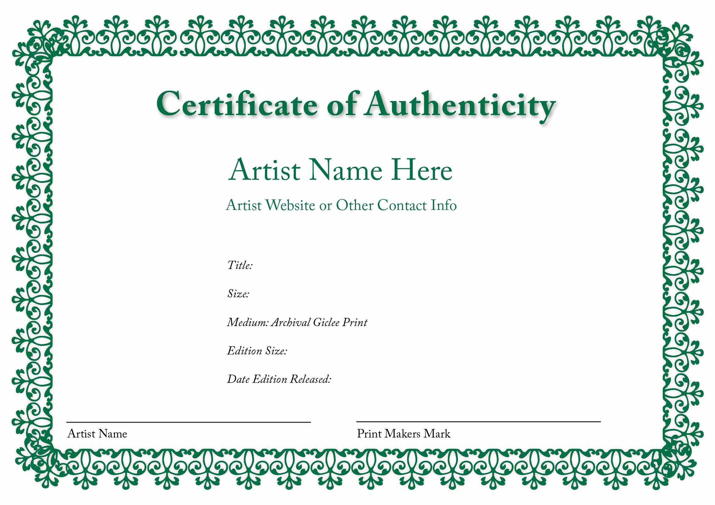 Certificate Of Authenticity Artwork Template Fresh Certificate Of Authenticity Of An Art Print