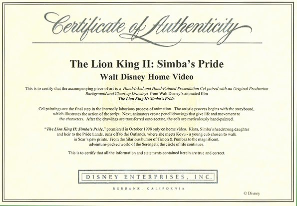 Certificate Of Authenticity Artwork Template Inspirational Sean Monico S the Animation Artshop original Disney Production Artwork Art From Lion King Ii