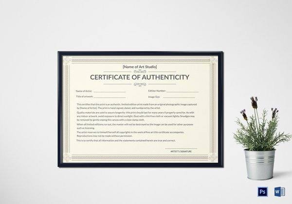 Certificate Of Authenticity Artwork Template Lovely Certificates Of Authenticity for Artists Artsy Shark