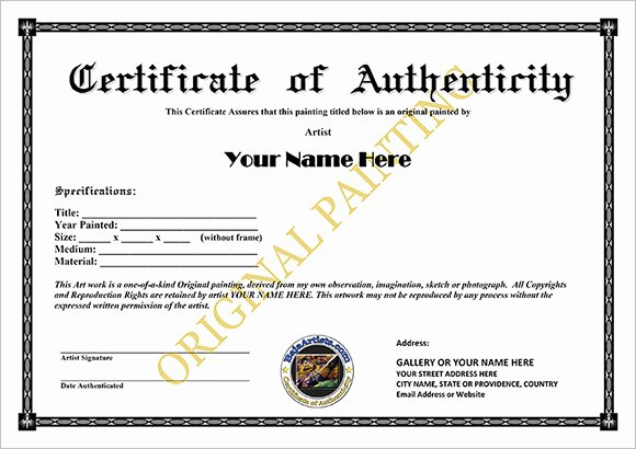 Certificate Of Authenticity Artwork Template Lovely Free 26 Certificate Of Authenticity Samples In Ms Word Shop