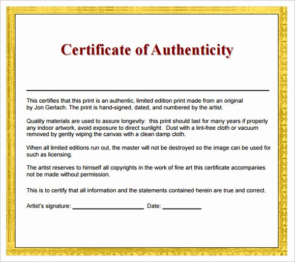 Certificate Of Authenticity Artwork Template Unique Free 26 Certificate Of Authenticity Samples In Ms Word Shop