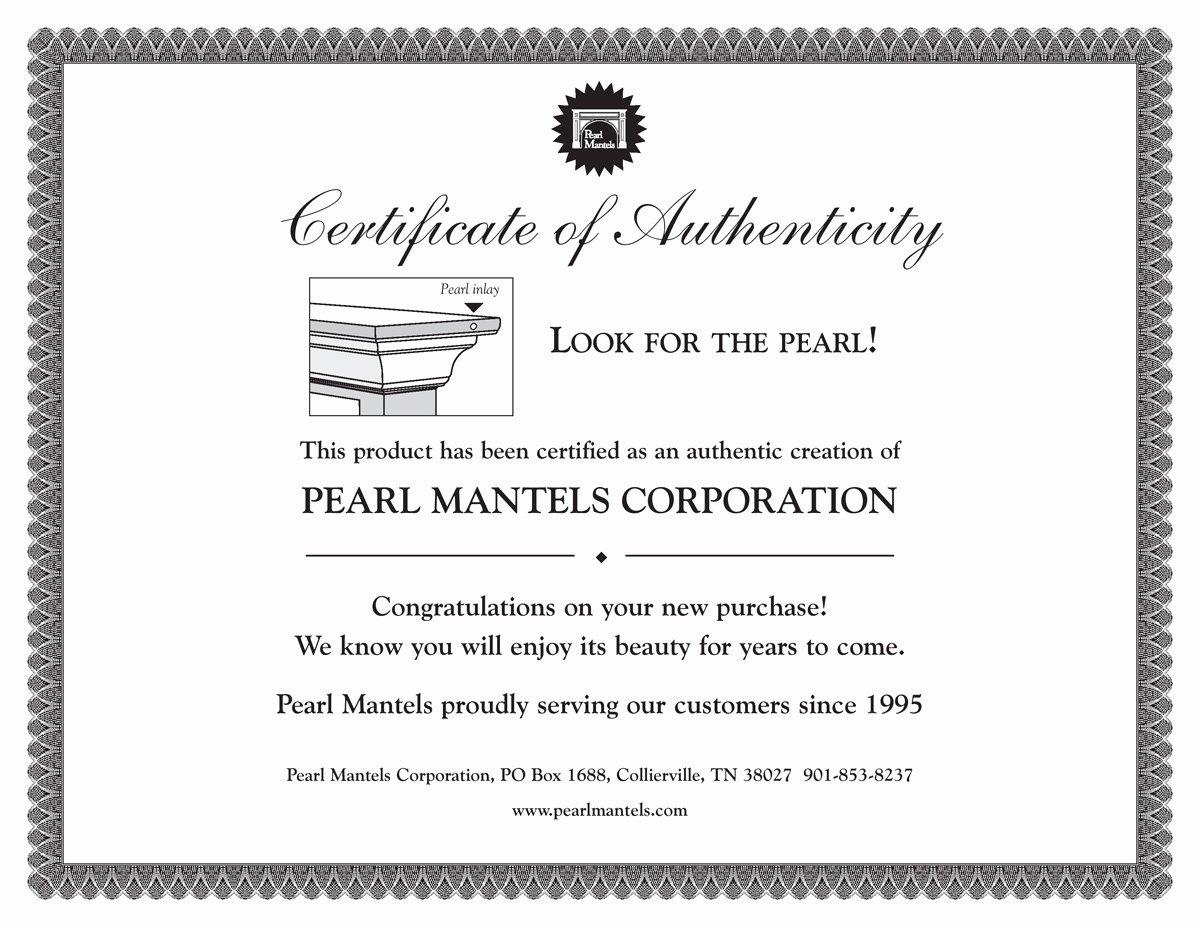 Certificate Of Authenticity Artwork Template Unique Pearl Mantels Avondale Mantel