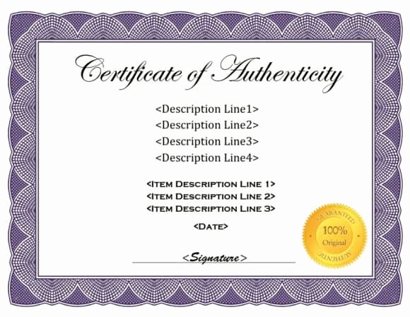 Certificate Of Authenticity Autograph Template Awesome 37 Certificate Of Authenticity Templates Art Car