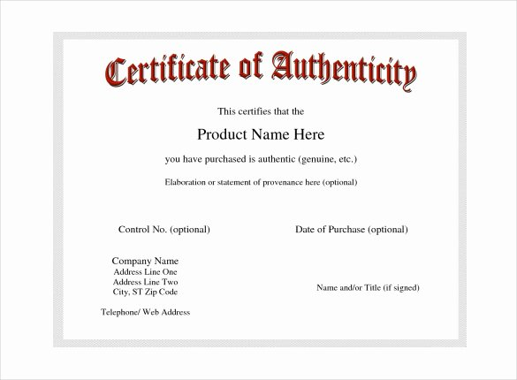 Certificate Of Authenticity Autograph Template Elegant Certificate Of Authenticity Template Certificate