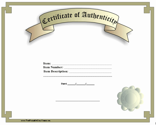 Certificate Of Authenticity Autograph Template Fresh A Classic Certificate Of Authenticity with A Faux Seal