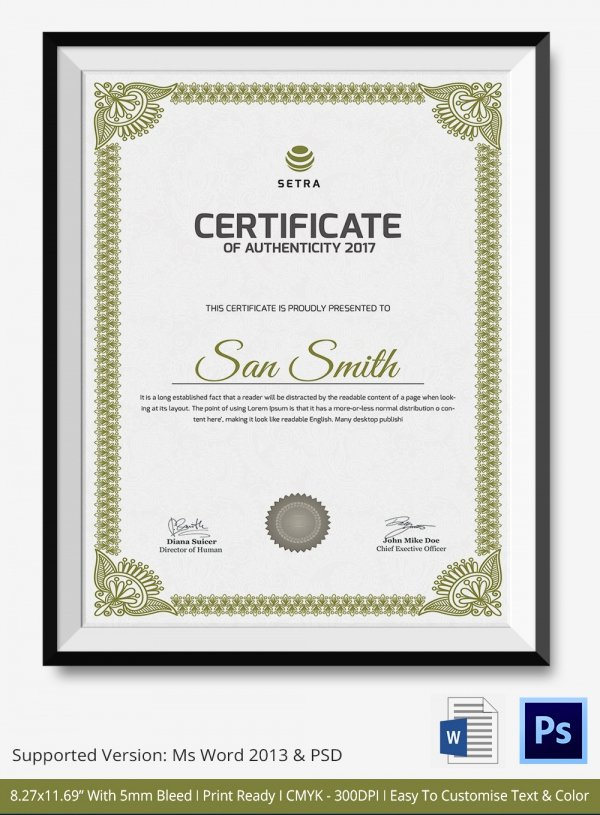 Certificate Of Authenticity Autograph Template Fresh Certificate Authenticity Template