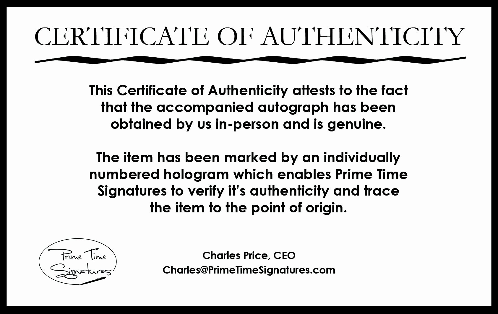 Certificate Of Authenticity Autograph Template Inspirational Primetime Signatures Authenticity Verification