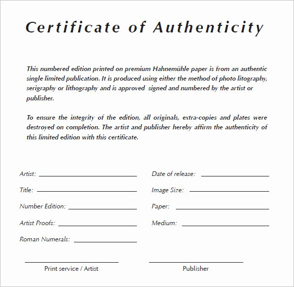 Certificate Of Authenticity Autograph Template Lovely 6 Certificate Authenticity Templates Website