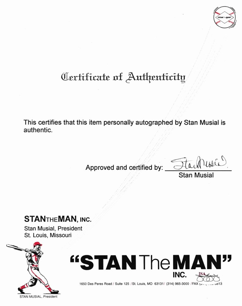 Certificate Of Authenticity Autograph Template Lovely Line Sports Memorabilia Auction
