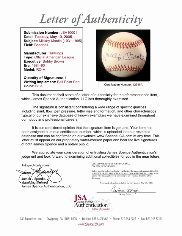 Certificate Of Authenticity Autograph Template Lovely What is 3rd Party Autograph Authentication What is Jsa or