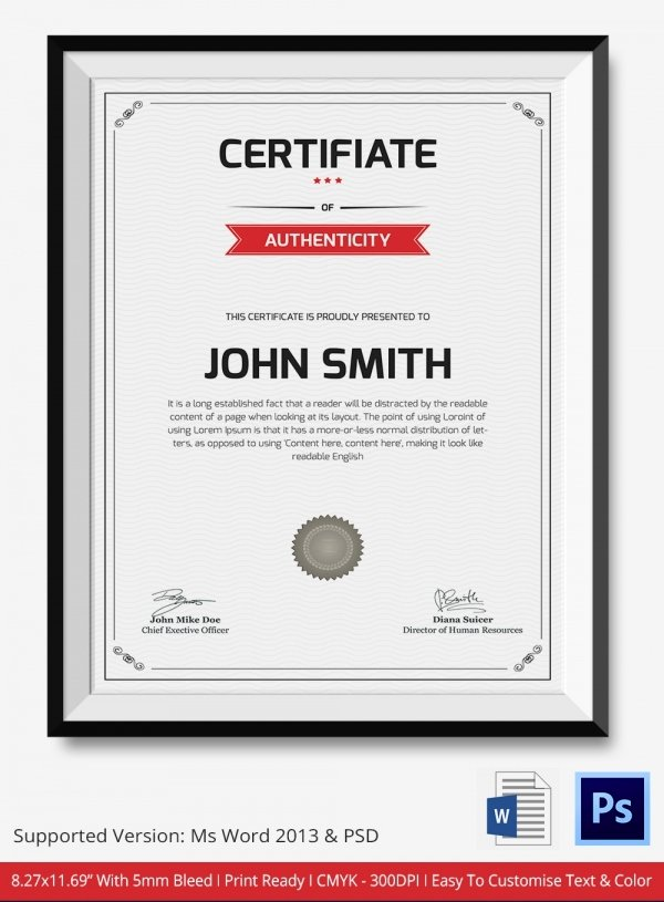 Certificate Of Authenticity Autograph Template Unique Certificate Of Authenticity Template 27 Free Word Pdf