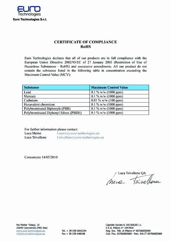 Certificate Of Compliance Template Best Of Rohs Pliance Certificate