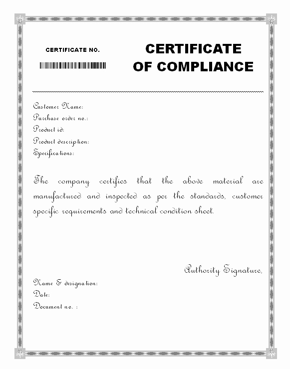 Certificate Of Compliance Template Elegant Material Certificate Of Pliance form