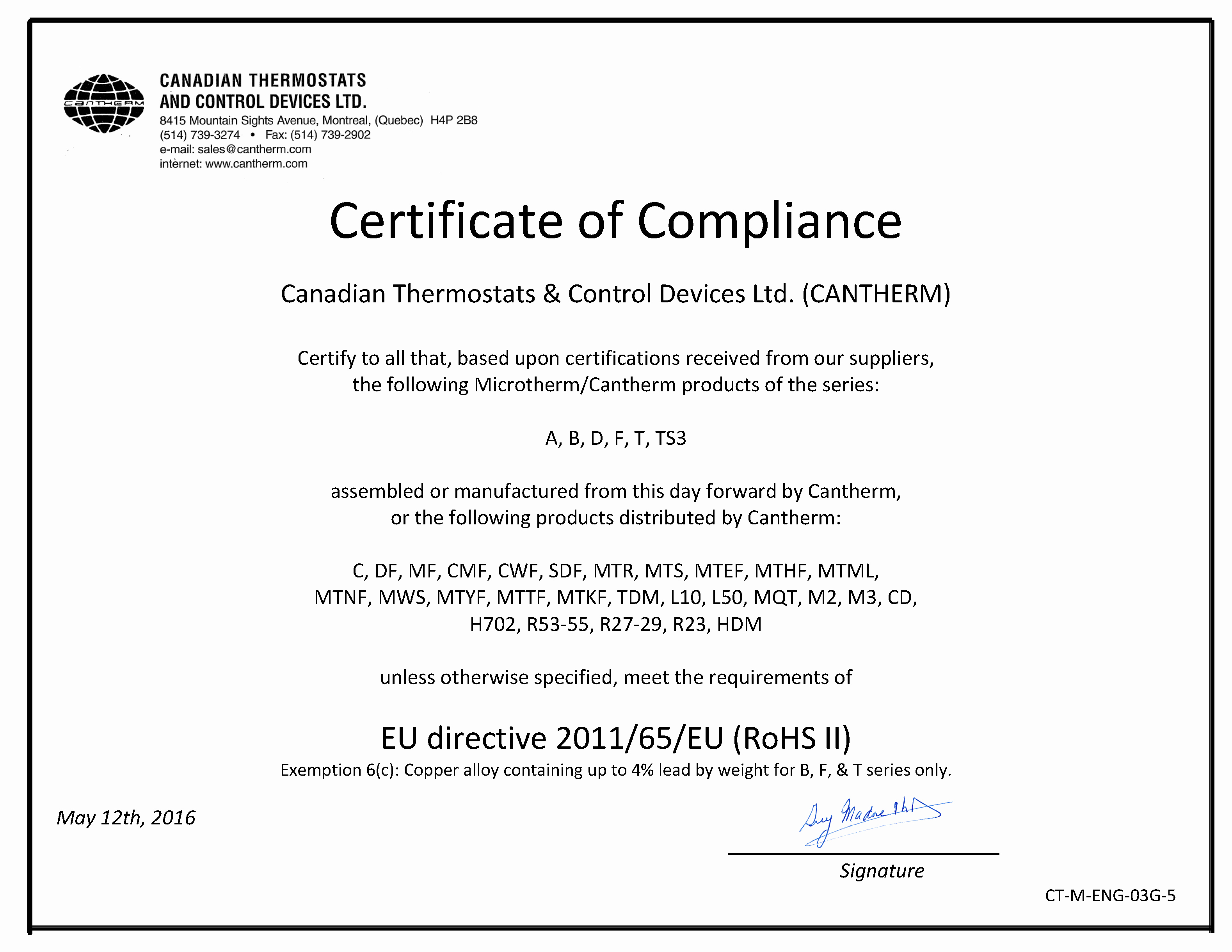 Certificate Of Compliance Template Lovely Rohs Pliance – Cantherm Cantherm – Canadian thermostats & Control Devices Ltd Cantherm