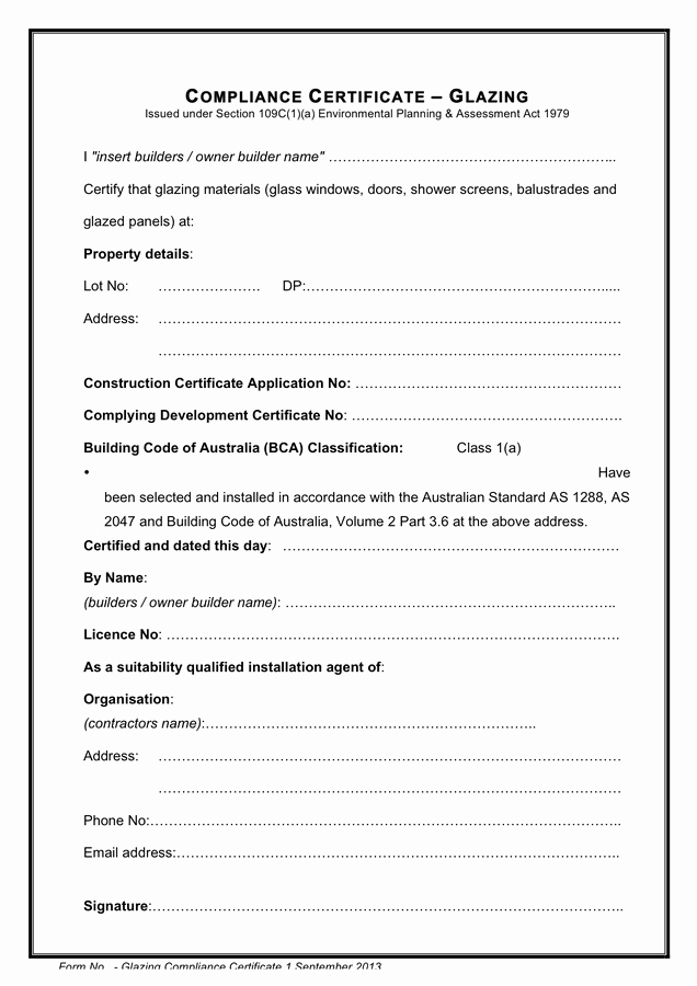 Certificate Of Compliance Template New Glazing Pliance Certificate In Word and Pdf formats