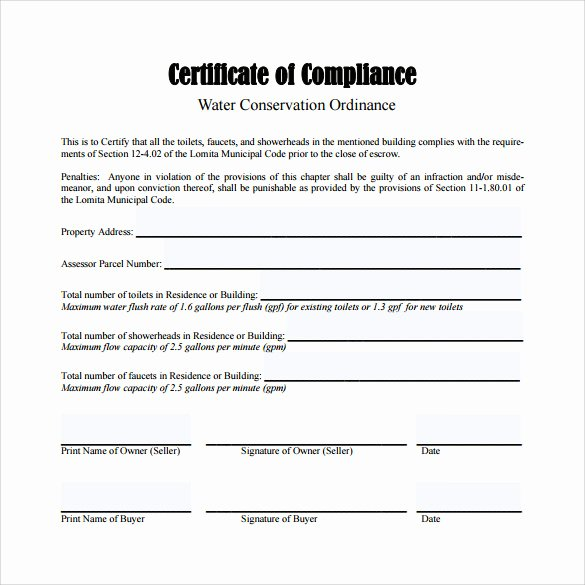 Certificate Of Compliance Template New Sample Certificate Of Pliance 25 Documents In Pdf Psd Ai Indesign