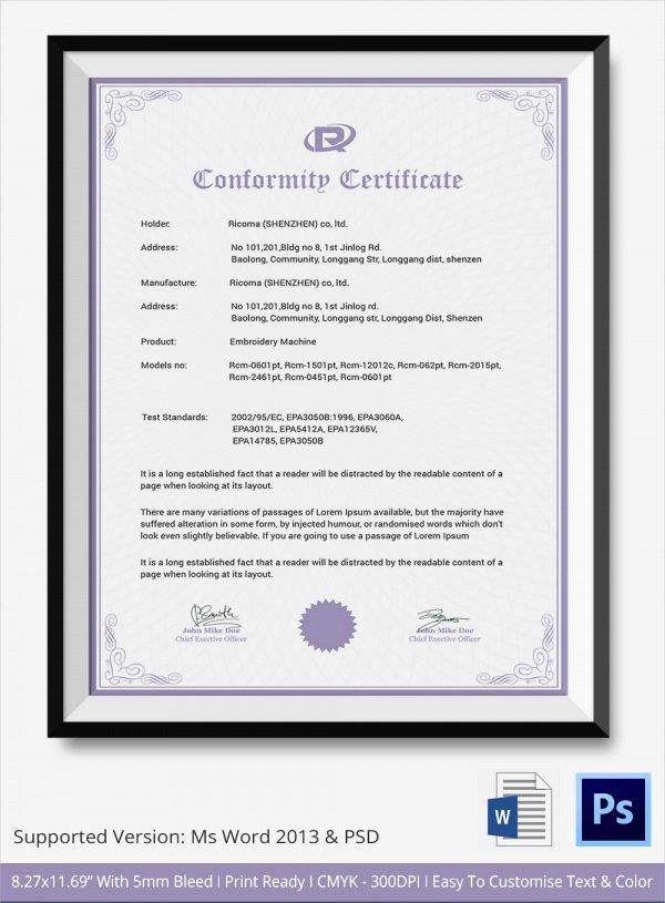 Certificate Of Conformance Template Beautiful Sample Certificate Of Conformance 23 Documents In Pdf Word Psd Ai Indesign