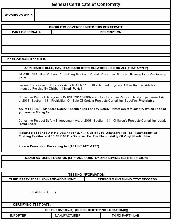 Certificate Of Conformance Template New General Certificate Of Conformity