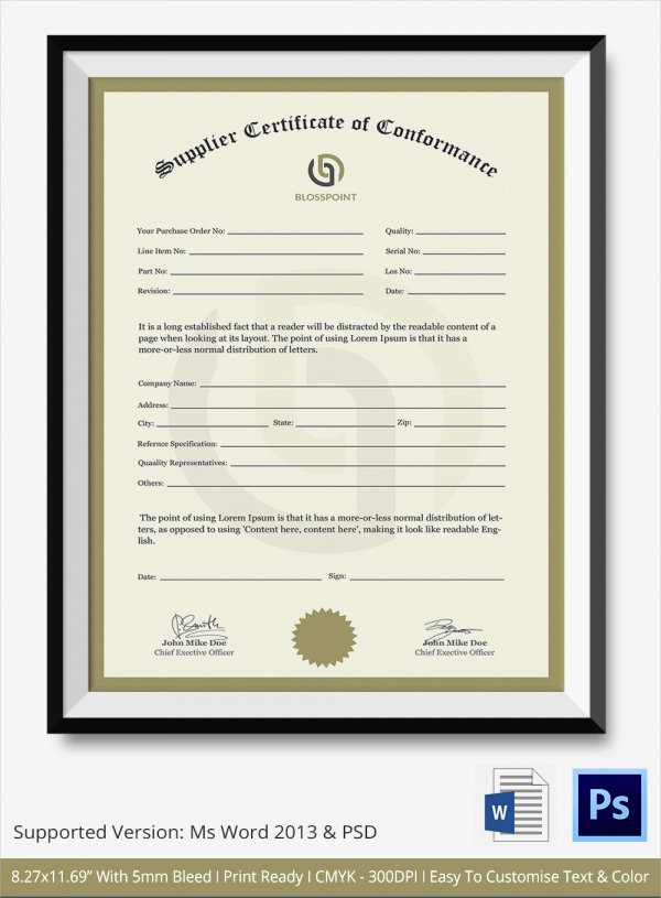 Certificate Of Conformance Template New Sample Certificate Of Conformance 23 Documents In Pdf Word Psd Ai Indesign