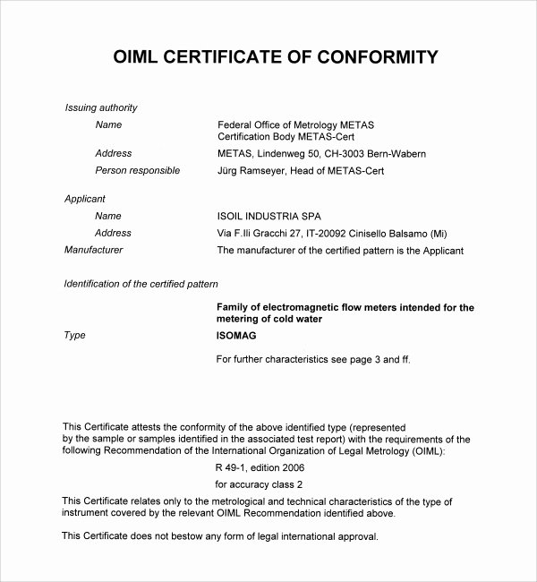 Certificate Of Conformance Template New Sample Conformity Certificate Template 15 Documents In Pdf Word Ai Psd