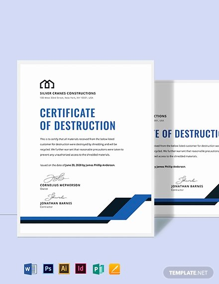 Certificate Of Data Destruction Template Beautiful Free Certificate Of Destruction Template Download 518 Certificates In Psd Illustrator