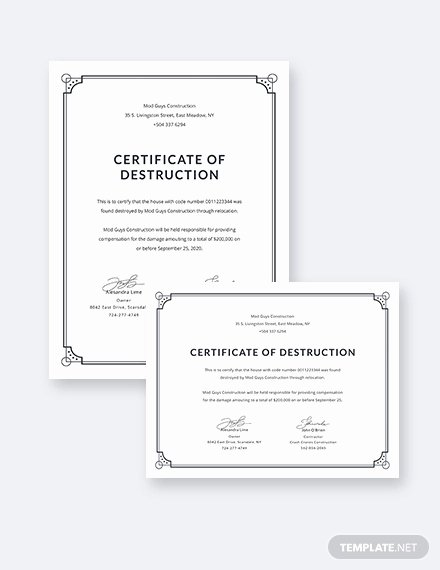 Certificate Of Data Destruction Template Luxury Certificate Destruction Template 12 Pdf Word Ai Indesign Psd format Download