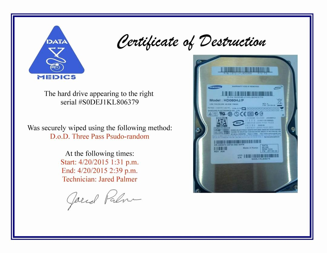 Certificate Of Data Destruction Template Unique Free Hard Drive Wiping Services Hdd Destruction