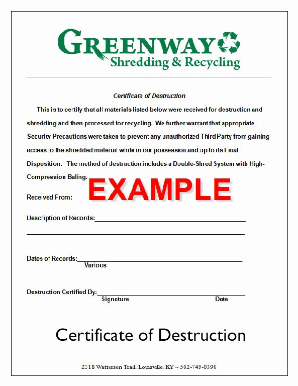 Certificate Of Destruction form Beautiful 35 Certificate Destruction Sample