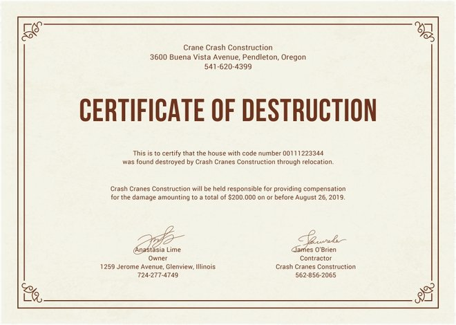 Certificate Of Destruction form Inspirational Certificate Destruction Templates 10 Free Pdf format Download