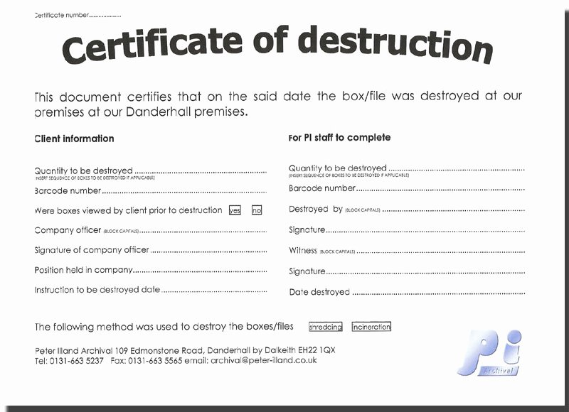Certificate Of Destruction form Inspirational Untitled Document [ Illand]
