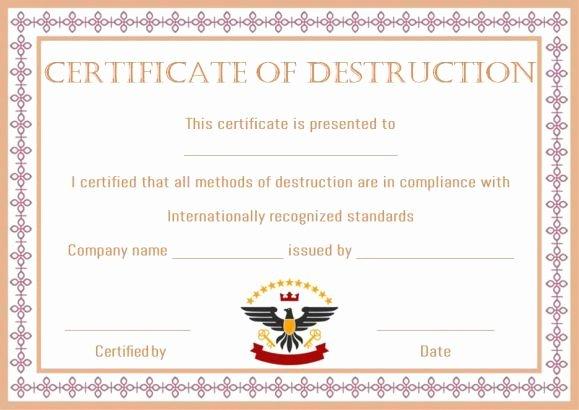 Certificate Of Destruction form Lovely 8 Best Certificate Of Destruction Images On Pinterest