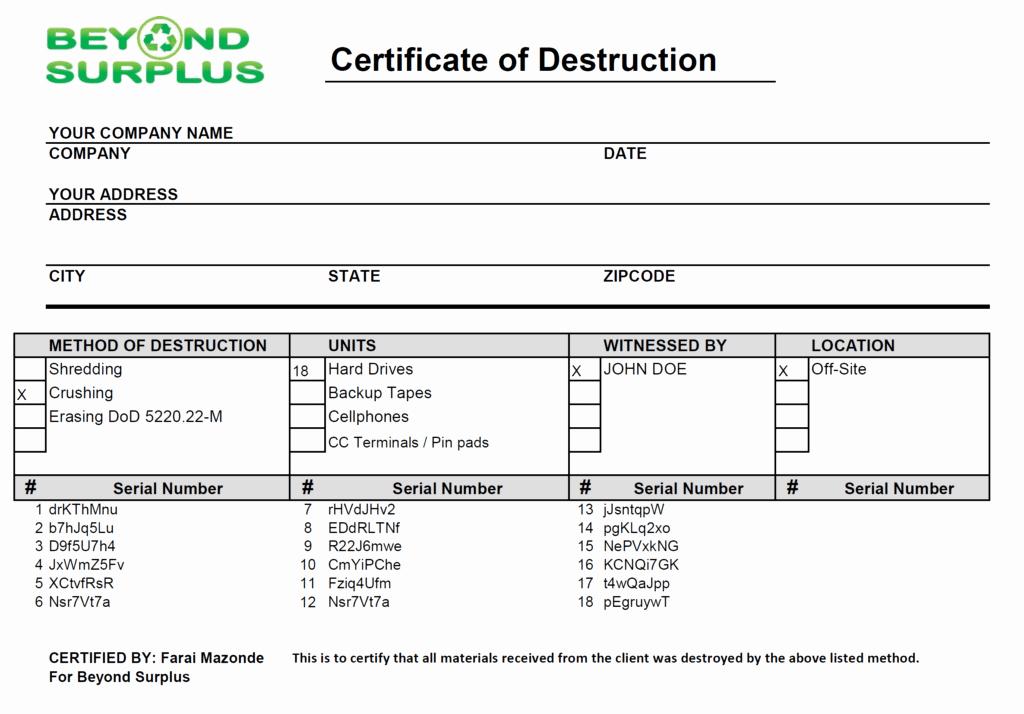 Certificate Of Destruction form Lovely It asset Management Itam