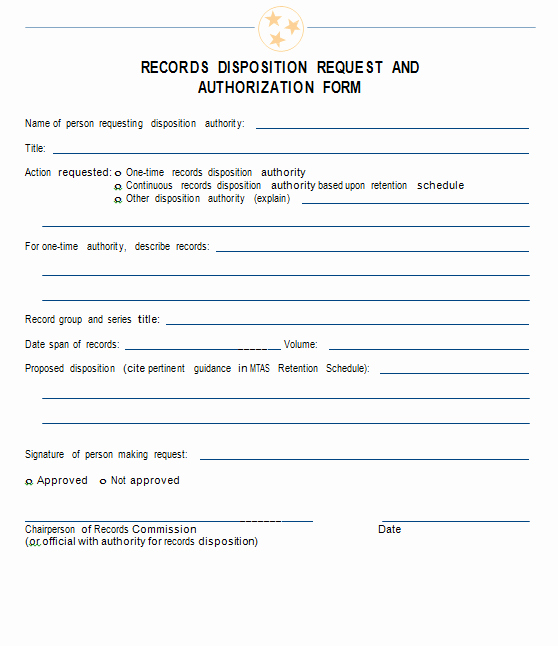 Certificate Of Destruction form Luxury Records Disposition Request and Authorization form