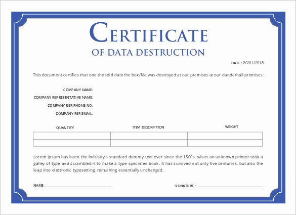 Certificate Of Destruction form New Certificate Templates