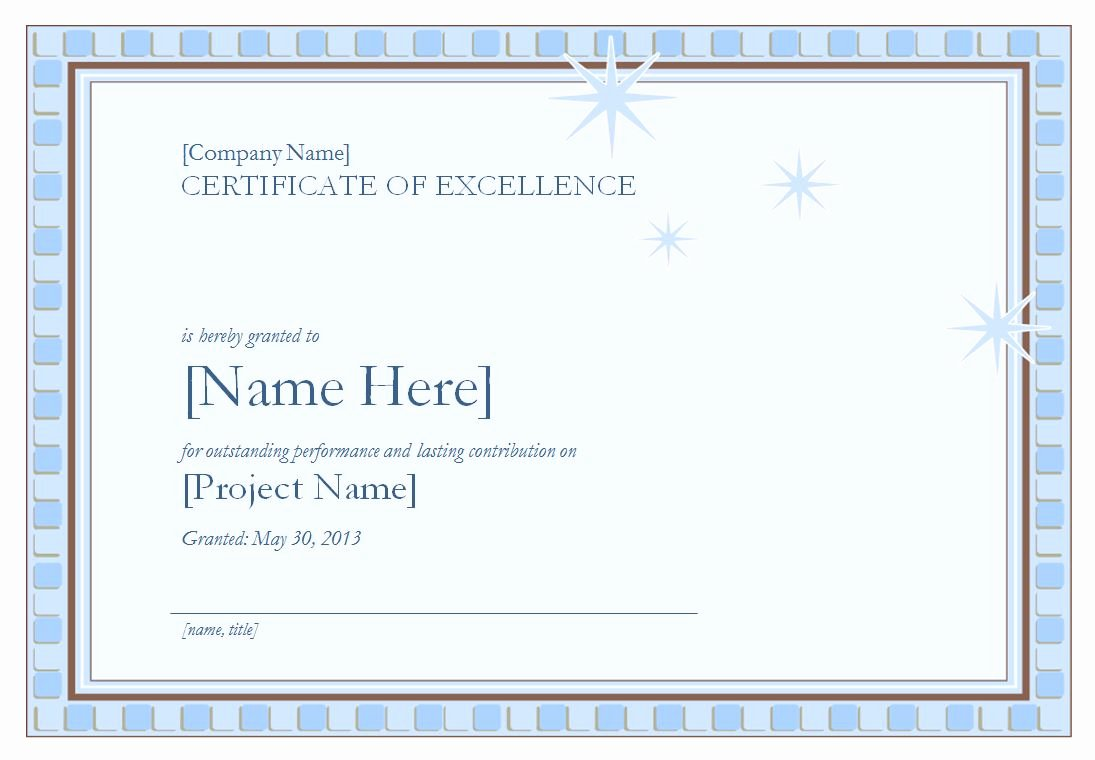 Certificate Of Excellence Template Awesome Certificate Of Excellence Template