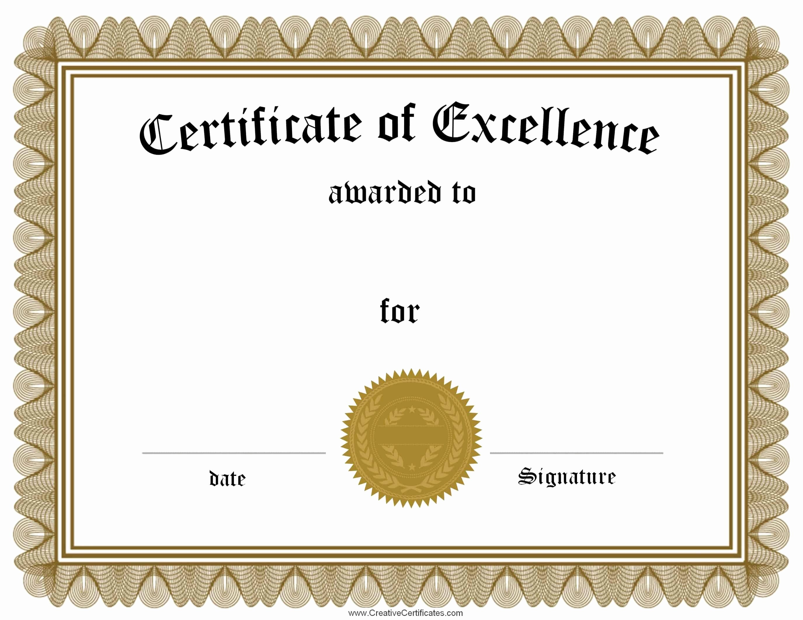 Certificate Of Excellence Template Awesome Free Customizable Certificate Of Achievement