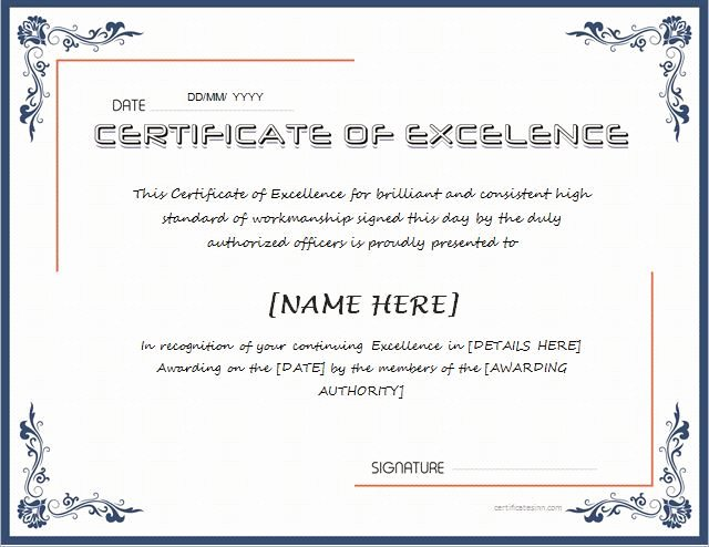 Certificate Of Excellence Template Awesome Pin by Alizbath Adam On Certificates