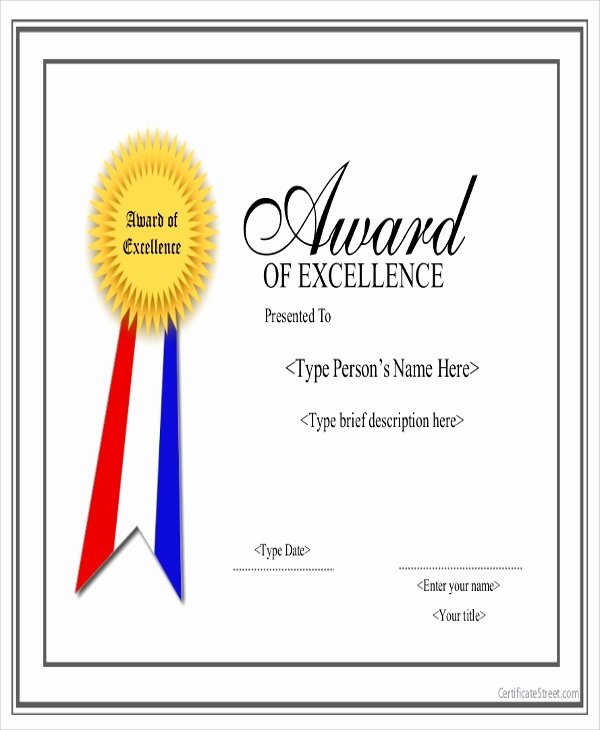 Certificate Of Excellence Template Beautiful 19 Sample Award Certificates Word Psd Ai Eps Vector